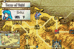 Eirika traverses the world map.