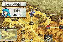 Eirika traverses the world map.