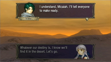 Dialogue scenes appear before, during and after each battle. Through them, various characters are interwoven into the story.